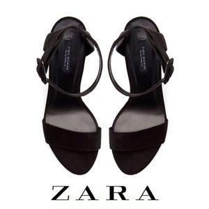 Zara Black Suede Slingback Wedge Sandal